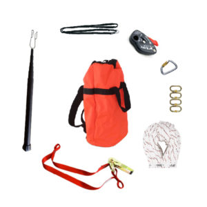 vertical safety system ratchet rescue kit with extension pole